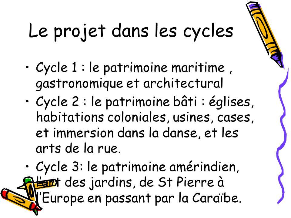 Le projet dans les cycles Cycle 1 : le patrimoine maritime, gastronomique et architectural Cycle 2 : le patrimoine bâti : églises, habitations colonia