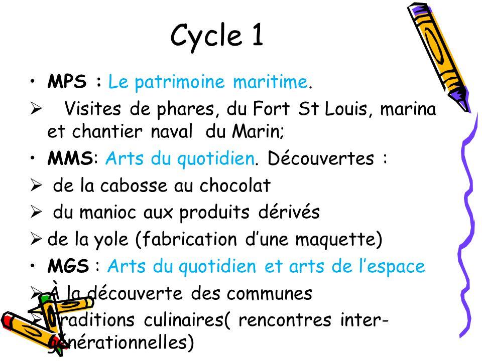 Cycle 1 MPS : Le patrimoine maritime. Visites de phares, du Fort St Louis, marina et chantier naval du Marin; MMS: Arts du quotidien. Découvertes : de