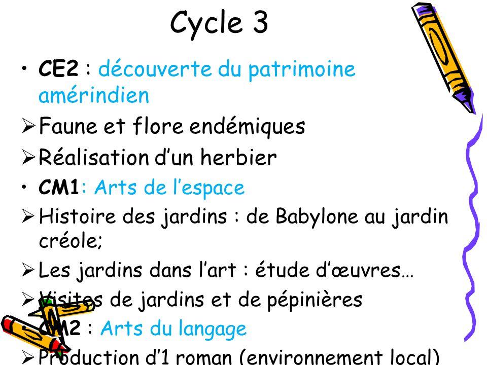 Cycle 3 CE2 : découverte du patrimoine amérindien Faune et flore endémiques Réalisation dun herbier CM1: Arts de lespace Histoire des jardins : de Bab