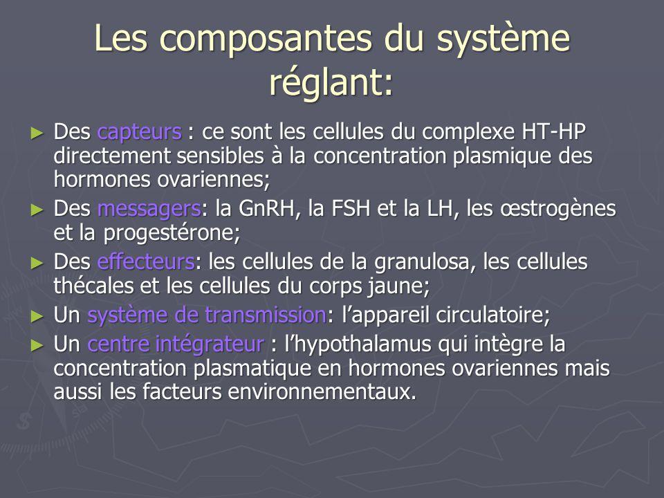 Schéma fonctionnel de la régulation de la concentration des hormones ovariennes HYPOTHALAMUS HYPOPHYSE Sécrétion pulsatile de GnRH Sécrétion de FSH Sécrétion de LH Maturation folliculaire et sécrétion dœstrogènes Sécrétion de dœstrogènes et de progestérone Paramètre réglé= Concentration plasmatique en hormones ovariennes RETROACTION NEGATIVE OU POSITIVE Capteurs + centre intégrateur: Complexe HT-HP Système de Transmission: Appareil circulatoire messagers Perturbation Dégradation Permanente des Hormones ovariennes Dans lorganisme OVAIRES EFFECTEUR EFFECTEUR EFFECTEUR Follicule Follicule Corps cavitaire de De Graaf jaune -Ovulation - transformation du Follicule en En corps jaune