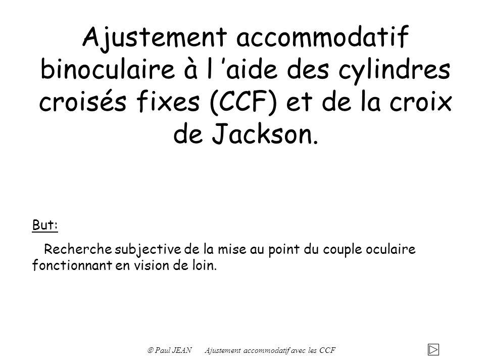 Ajustement accommodatif binoculaire à l aide des cylindres croisés fixes (CCF) et de la croix de Jackson. But: Recherche subjective de la mise au poin