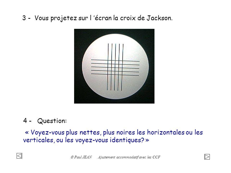 3 - Vous projetez sur l écran la croix de Jackson. 4 - Question: « Voyez-vous plus nettes, plus noires les horizontales ou les verticales, ou les voye
