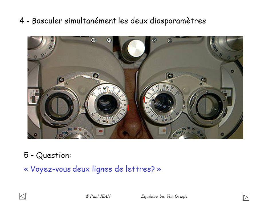 4 - Basculer simultanément les deux diasporamètres 5 - Question: « Voyez-vous deux lignes de lettres? » Paul JEAN Equilibre bio Von Graefe