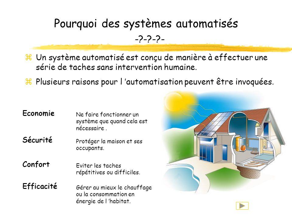 Pourquoi des systèmes automatisés -?-?-?- zUn système automatisé est conçu de manière à effectuer une série de taches sans intervention humaine.