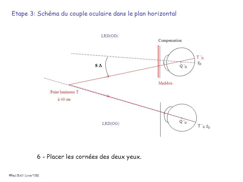 f D f G Extériorisation gauche du point lumineux droite gauche Extériorisation droite du point lumineux T D T G 8 7 - Reporter sur le schéma de l œil cyclope les positions des images rétiniennes du point T.