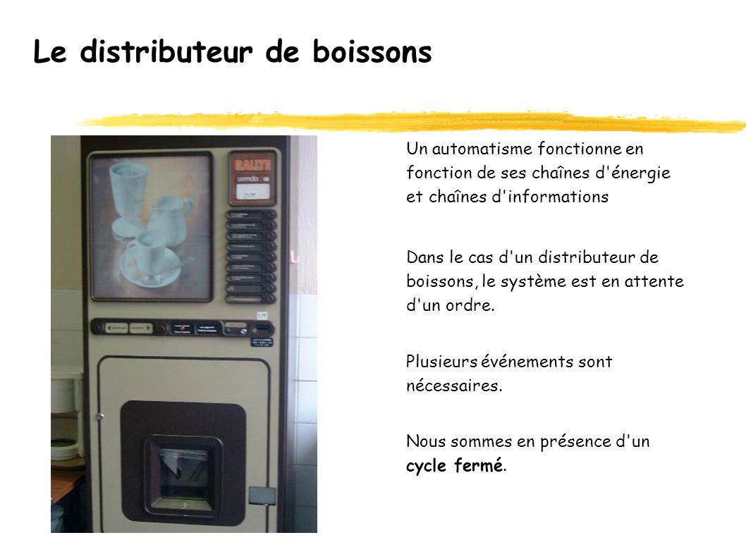 Le distributeur de boissons Un automatisme fonctionne en fonction de ses chaînes d énergie et chaînes d informations Dans le cas d un distributeur de boissons, le système est en attente d un ordre.
