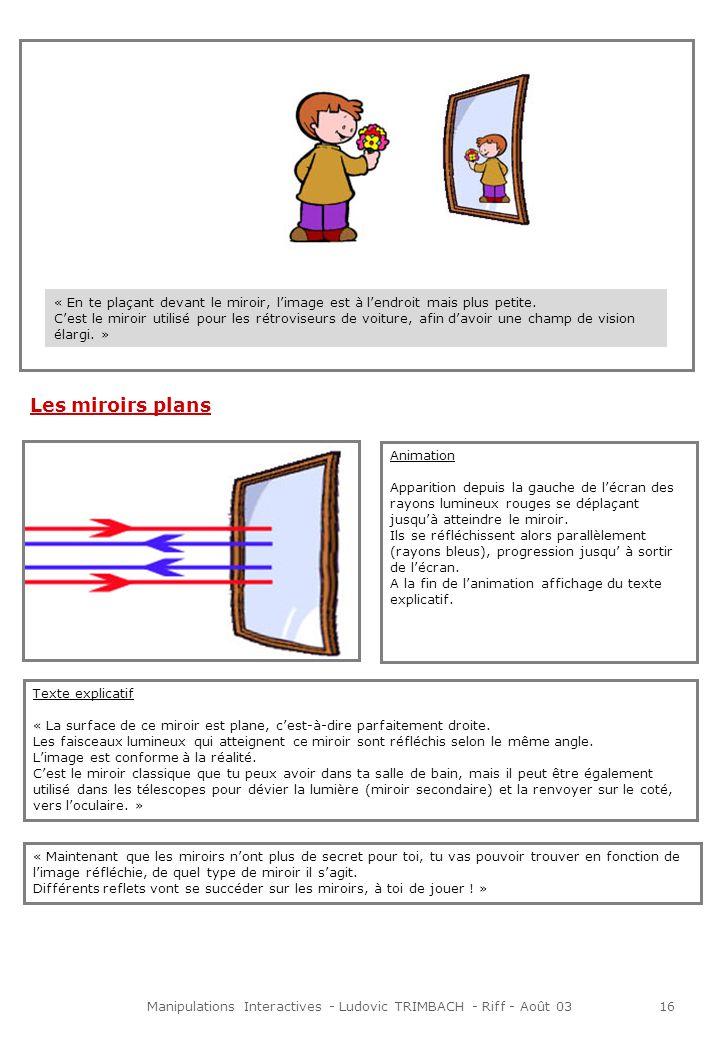 Manipulations Interactives - Ludovic TRIMBACH - Riff - Août 0316 Texte explicatif « La surface de ce miroir est plane, cest-à-dire parfaitement droite.
