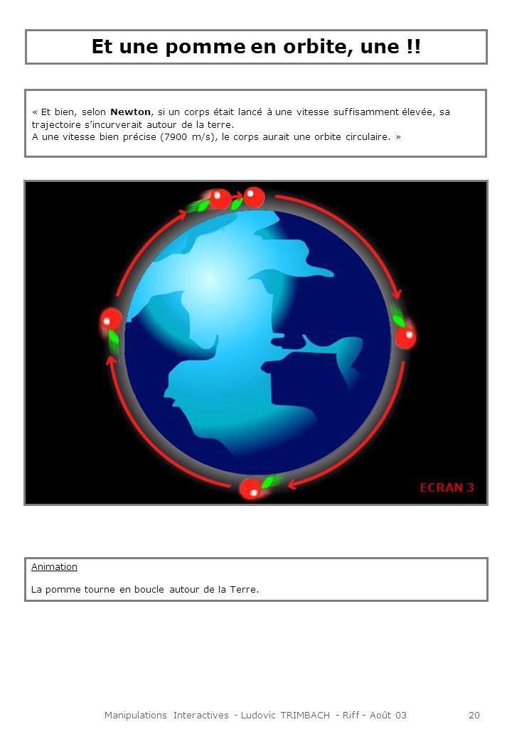 Manipulations Interactives - Ludovic TRIMBACH - Riff - Août 0320 ECRAN 3 « Et bien, selon Newton, si un corps était lancé à une vitesse suffisamment élevée, sa trajectoire sincurverait autour de la terre.