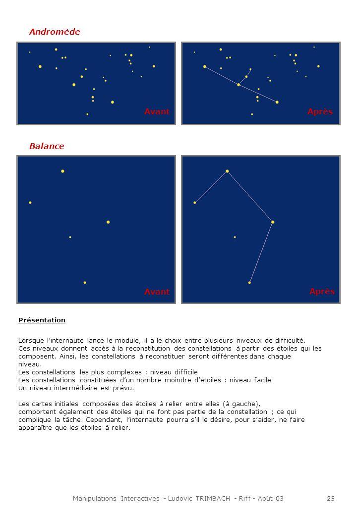 Manipulations Interactives - Ludovic TRIMBACH - Riff - Août 0325 Andromède Balance Avant Après Présentation Lorsque linternaute lance le module, il a le choix entre plusieurs niveaux de difficulté.