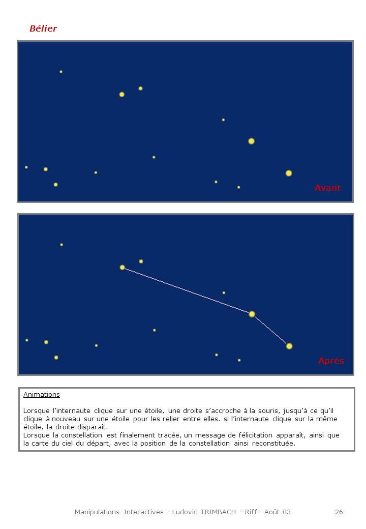 Manipulations Interactives - Ludovic TRIMBACH - Riff - Août 0326 Bélier Animations Lorsque linternaute clique sur une étoile, une droite saccroche à la souris, jusquà ce quil clique à nouveau sur une étoile pour les relier entre elles.