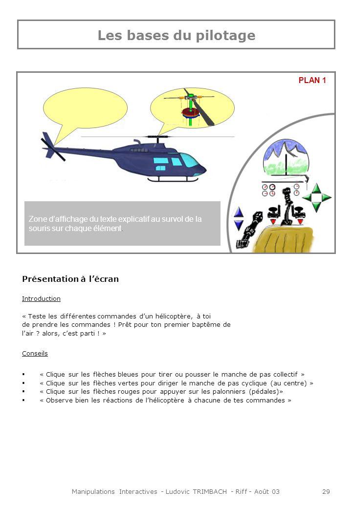 Manipulations Interactives - Ludovic TRIMBACH - Riff - Août 0329 Présentation à lécran Introduction « Teste les différentes commandes dun hélicoptère, à toi de prendre les commandes .