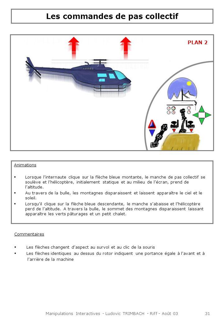 Manipulations Interactives - Ludovic TRIMBACH - Riff - Août 0331 Les commandes de pas collectif Animations Lorsque linternaute clique sur la flèche bleue montante, le manche de pas collectif se soulève et lhélicoptère, initialement statique et au milieu de lécran, prend de laltitude.