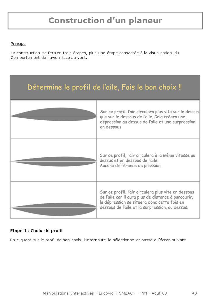 Manipulations Interactives - Ludovic TRIMBACH - Riff - Août 0340 Etape 1 : Choix du profil En cliquant sur le profil de son choix, linternaute le sélectionne et passe à lécran suivant.