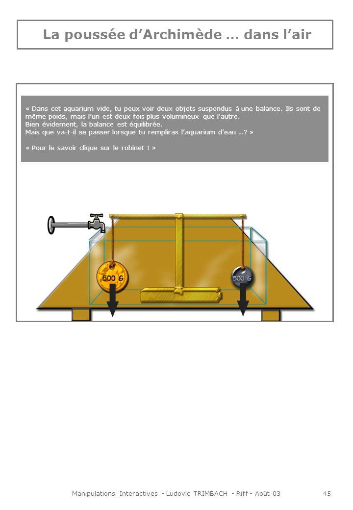 Manipulations Interactives - Ludovic TRIMBACH - Riff - Août 0345 « Dans cet aquarium vide, tu peux voir deux objets suspendus à une balance.