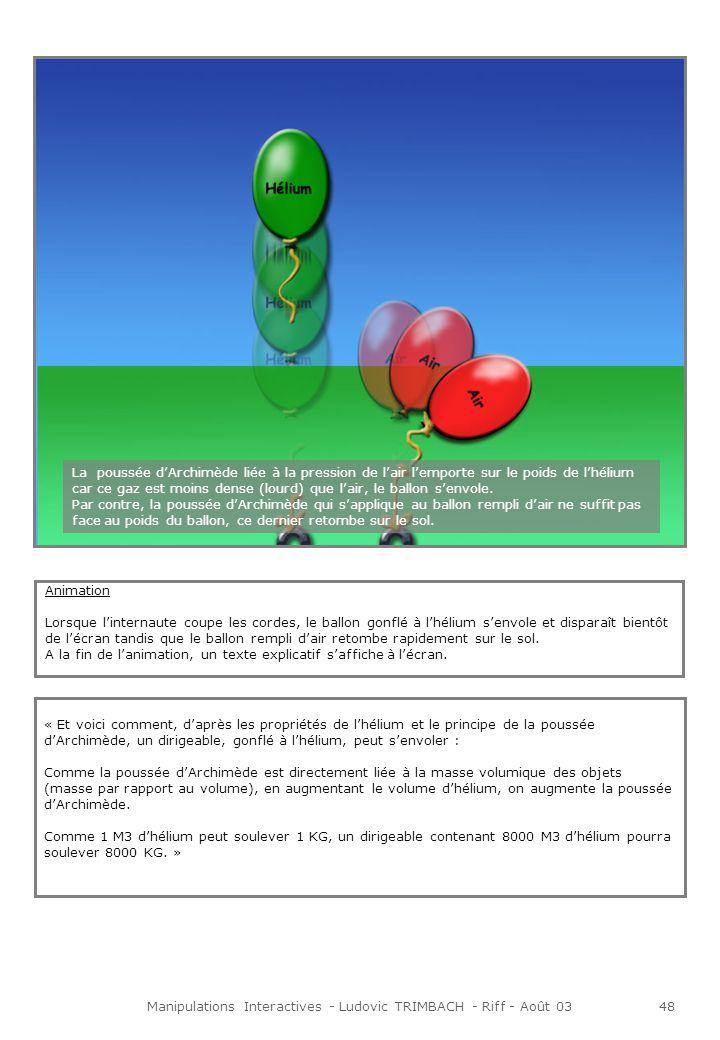 Manipulations Interactives - Ludovic TRIMBACH - Riff - Août 0348 Animation Lorsque linternaute coupe les cordes, le ballon gonflé à lhélium senvole et disparaît bientôt de lécran tandis que le ballon rempli dair retombe rapidement sur le sol.
