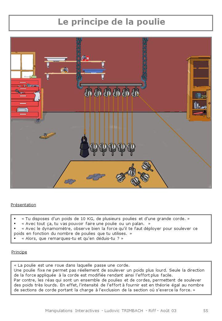 Manipulations Interactives - Ludovic TRIMBACH - Riff - Août 0355 Principe « La poulie est une roue dans laquelle passe une corde.