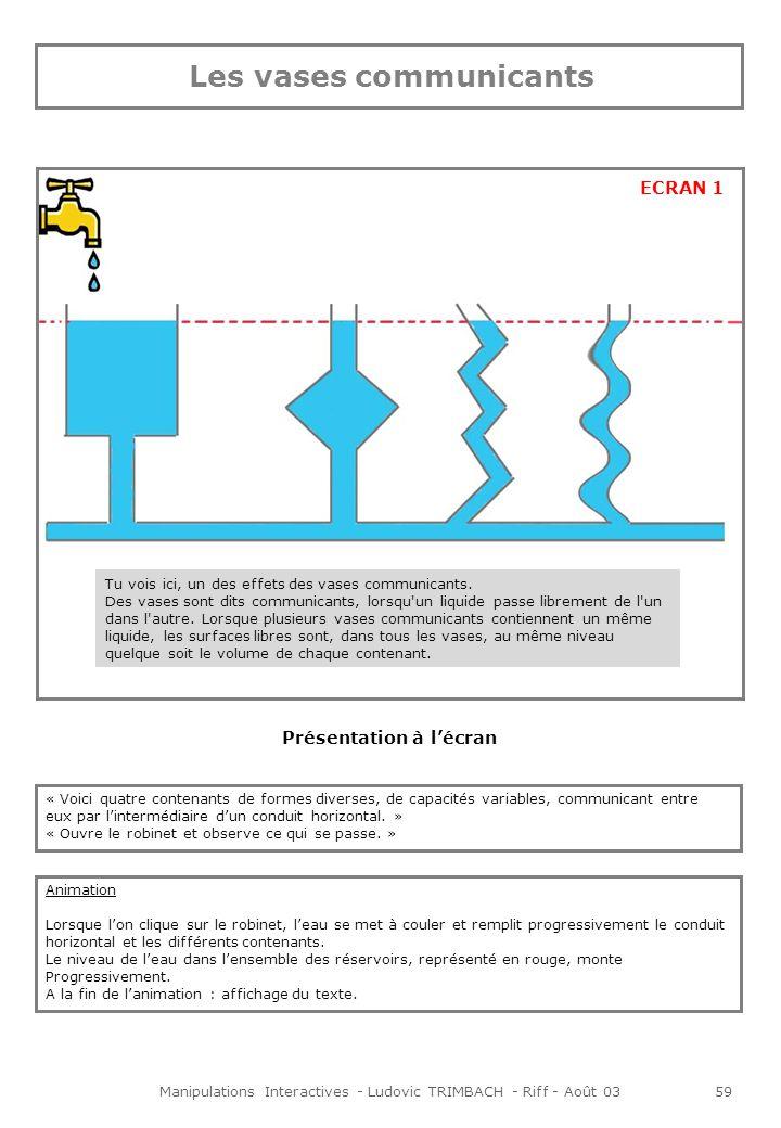 Manipulations Interactives - Ludovic TRIMBACH - Riff - Août 0359 Présentation à lécran « Voici quatre contenants de formes diverses, de capacités variables, communicant entre eux par lintermédiaire dun conduit horizontal.