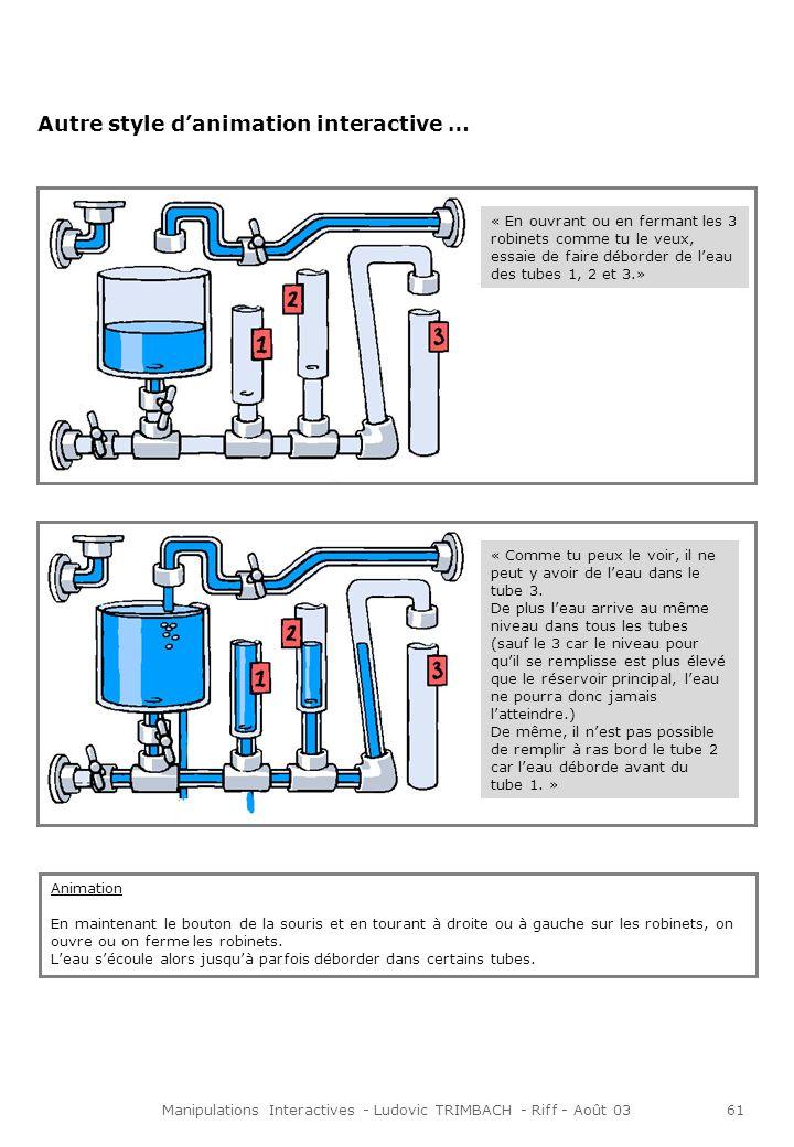 Manipulations Interactives - Ludovic TRIMBACH - Riff - Août 0361 Autre style danimation interactive … « En ouvrant ou en fermant les 3 robinets comme tu le veux, essaie de faire déborder de leau des tubes 1, 2 et 3.» Animation En maintenant le bouton de la souris et en tourant à droite ou à gauche sur les robinets, on ouvre ou on ferme les robinets.