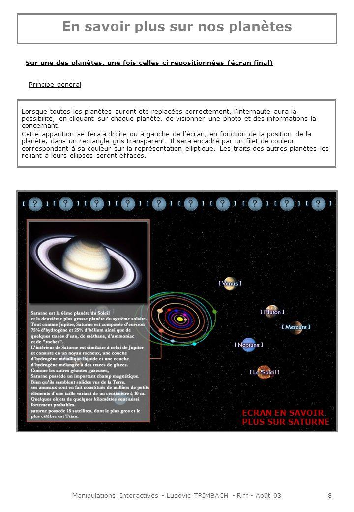 Manipulations Interactives - Ludovic TRIMBACH - Riff - Août 038 Sur une des planètes, une fois celles-ci repositionnées (écran final) Lorsque toutes les planètes auront été replacées correctement, linternaute aura la possibilité, en cliquant sur chaque planète, de visionner une photo et des informations la concernant.