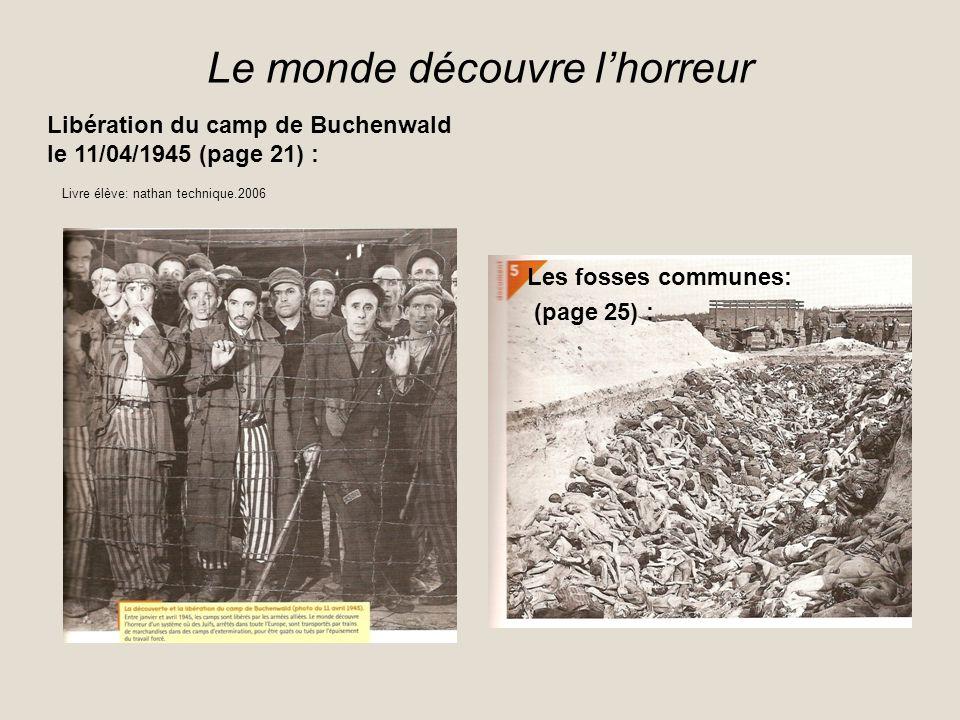 Le monde découvre lhorreur Libération du camp de Buchenwald le 11/04/1945 (page 21) : Les fosses communes: (page 25) : Livre élève: nathan technique.2