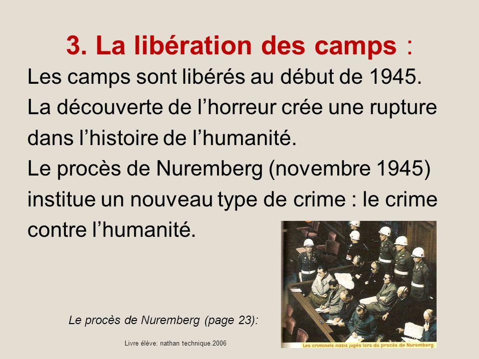 3. La libération des camps : Les camps sont libérés au début de 1945. La découverte de lhorreur crée une rupture dans lhistoire de lhumanité. Le procè