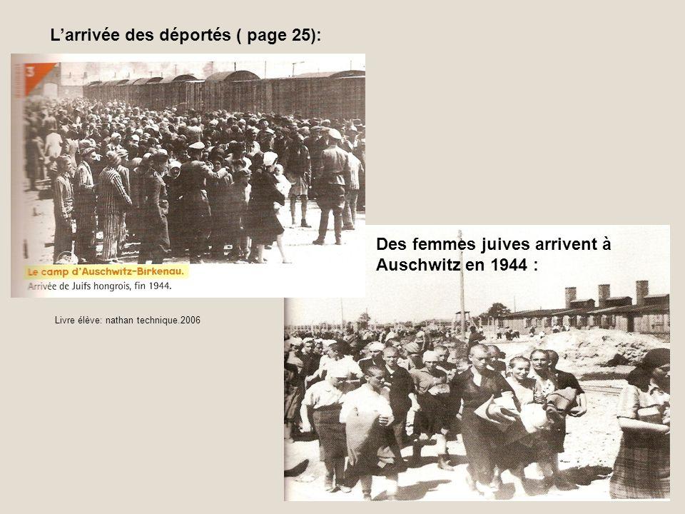 Larrivée des déportés ( page 25): Des femmes juives arrivent à Auschwitz en 1944 : Livre élève: nathan technique.2006