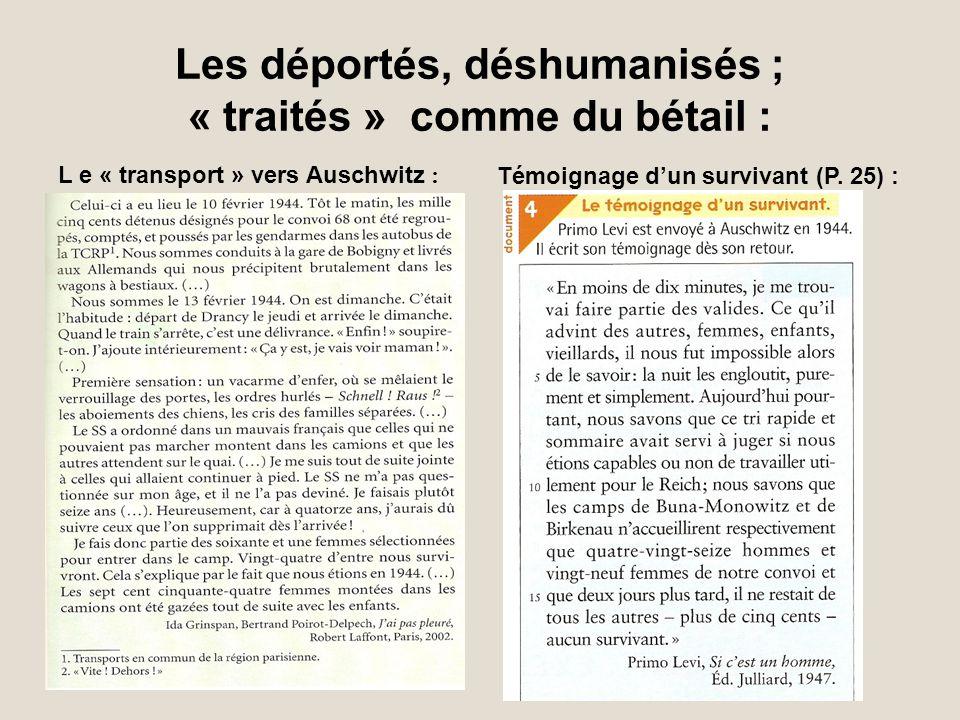 Les déportés, déshumanisés ; « traités » comme du bétail : L e « transport » vers Auschwitz : Témoignage dun survivant (P. 25) :