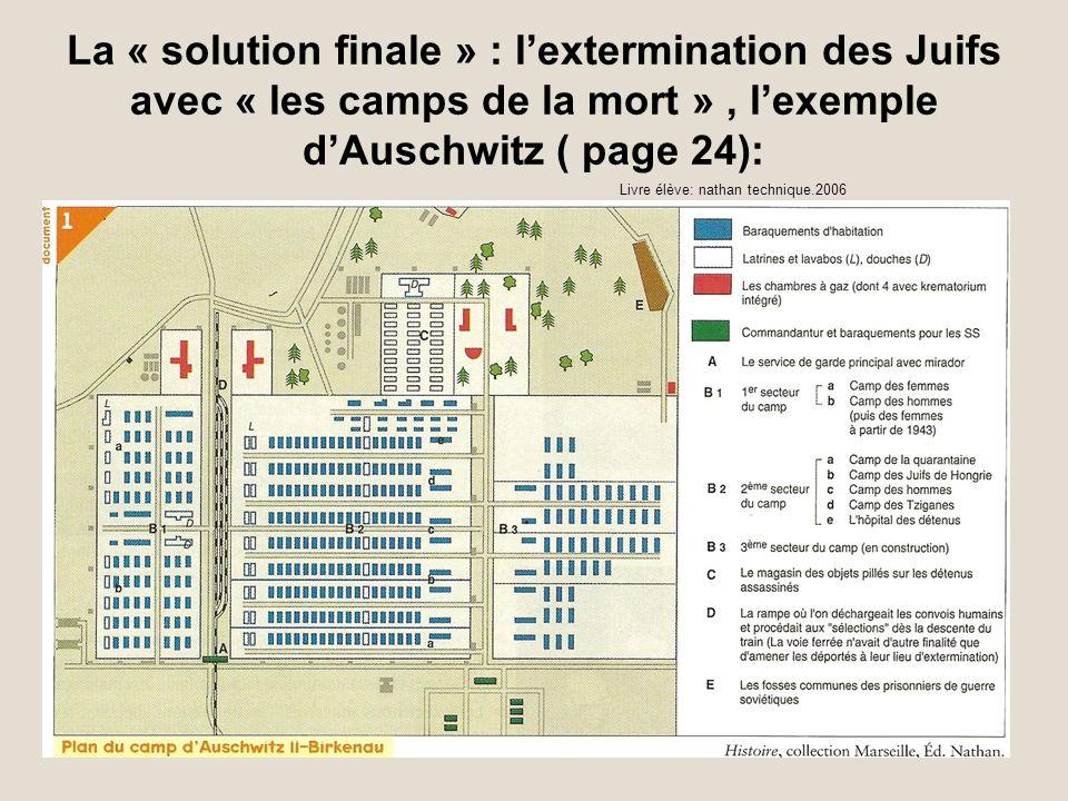La « solution finale » : lextermination des Juifs avec « les camps de la mort », lexemple dAuschwitz ( page 24): Livre élève: nathan technique.2006