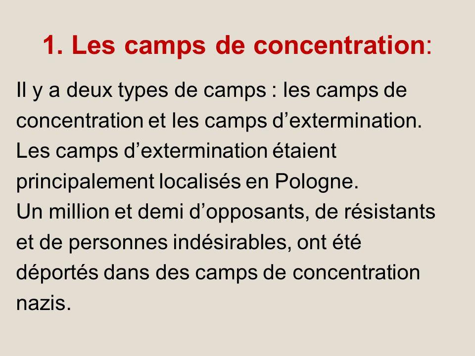 1. Les camps de concentration: Il y a deux types de camps : les camps de concentration et les camps dextermination. Les camps dextermination étaient p