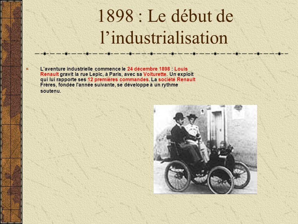 1898 : Le début de lindustrialisation L'aventure industrielle commence le 24 décembre 1898 : Louis Renault gravit la rue Lepic, à Paris, avec sa Voitu