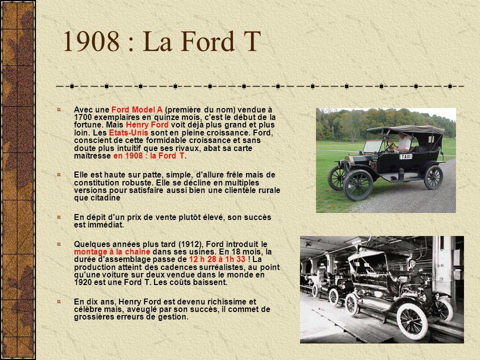 1908 : La Ford T Avec une Ford Model A (première du nom) vendue à 1700 exemplaires en quinze mois, c'est le début de la fortune. Mais Henry Ford voit