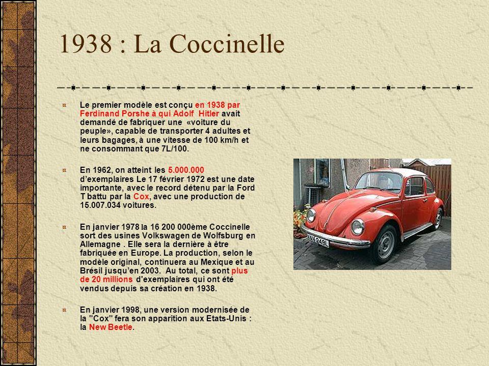 1938 : La Coccinelle Le premier modèle est conçu en 1938 par Ferdinand Porshe à qui Adolf Hitler avait demandé de fabriquer une «voiture du peuple», c