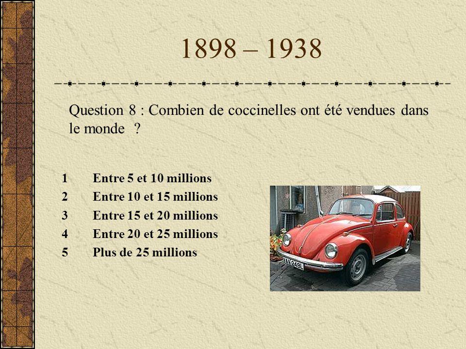 1898 – 1938 1Entre 5 et 10 millions 2Entre 10 et 15 millions 3Entre 15 et 20 millions 4Entre 20 et 25 millions 5Plus de 25 millions Question 8 : Combi