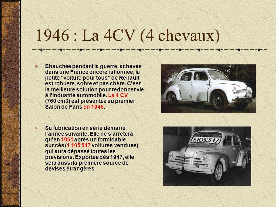 1946 : La 4CV (4 chevaux) Ebauchée pendant la guerre, achevée dans une France encore rationnée, la petite