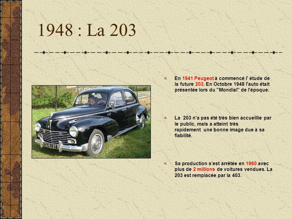 1948 : La 203 En 1941 Peugeot à commencé l' étude de la future 203. En Octobre 1948 l'auto était présentée lors du
