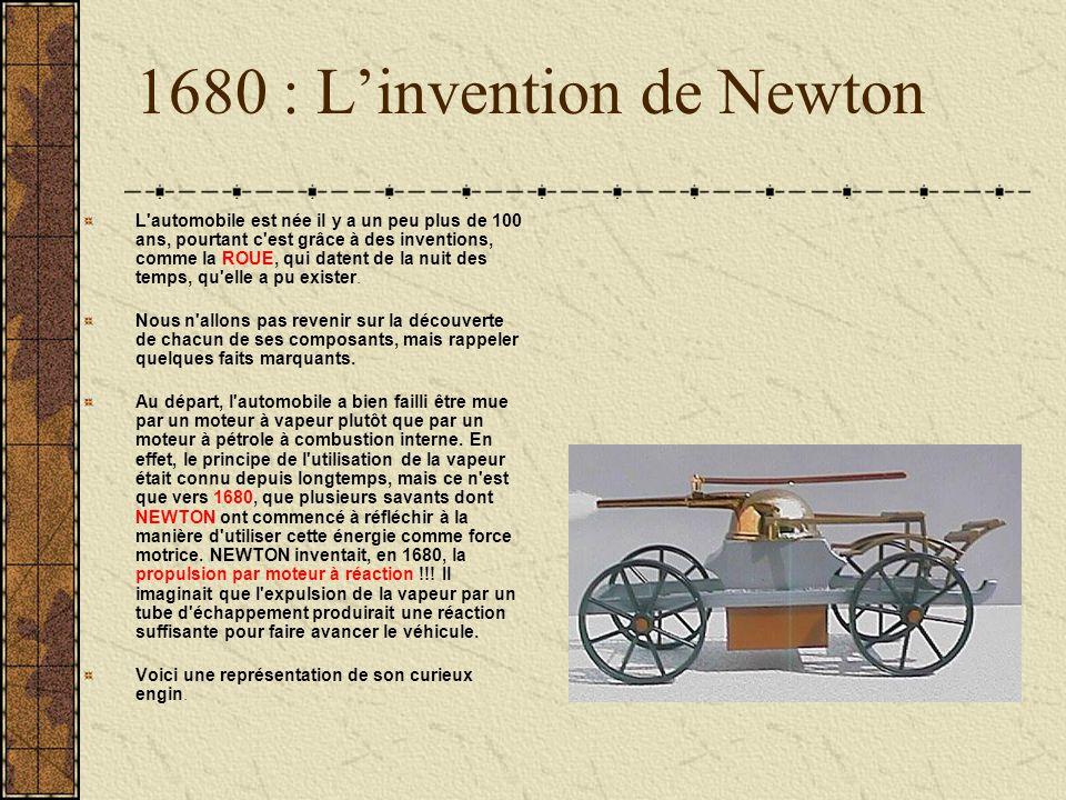 1680 : Linvention de Newton L'automobile est née il y a un peu plus de 100 ans, pourtant c'est grâce à des inventions, comme la ROUE, qui datent de la