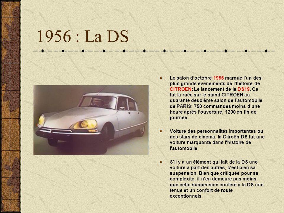 1956 : La DS Le salon doctobre 1956 marque lun des plus grands événements de lhistoire de CITROEN: Le lancement de la DS19. Ce fut la ruée sur le stan