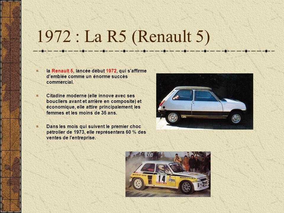 1972 : La R5 (Renault 5) la Renault 5, lancée début 1972, qui s'affirme d'emblée comme un énorme succès commercial. Citadine moderne (elle innove avec