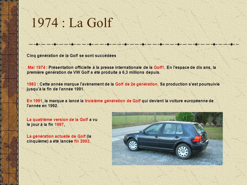 1974 : La Golf Cinq génération de la Golf se sont succédées Mai 1974 : Présentation officielle à la presse internationale de la Golf1. En l'espace de