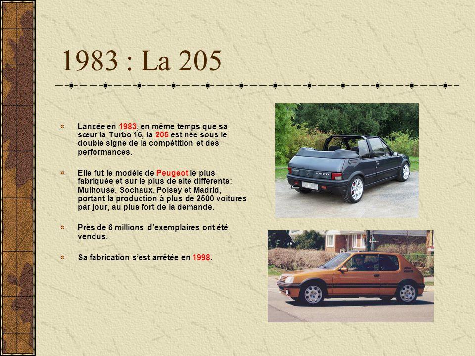 1983 : La 205 Lancée en 1983, en même temps que sa sœur la Turbo 16, la 205 est née sous le double signe de la compétition et des performances. Elle f