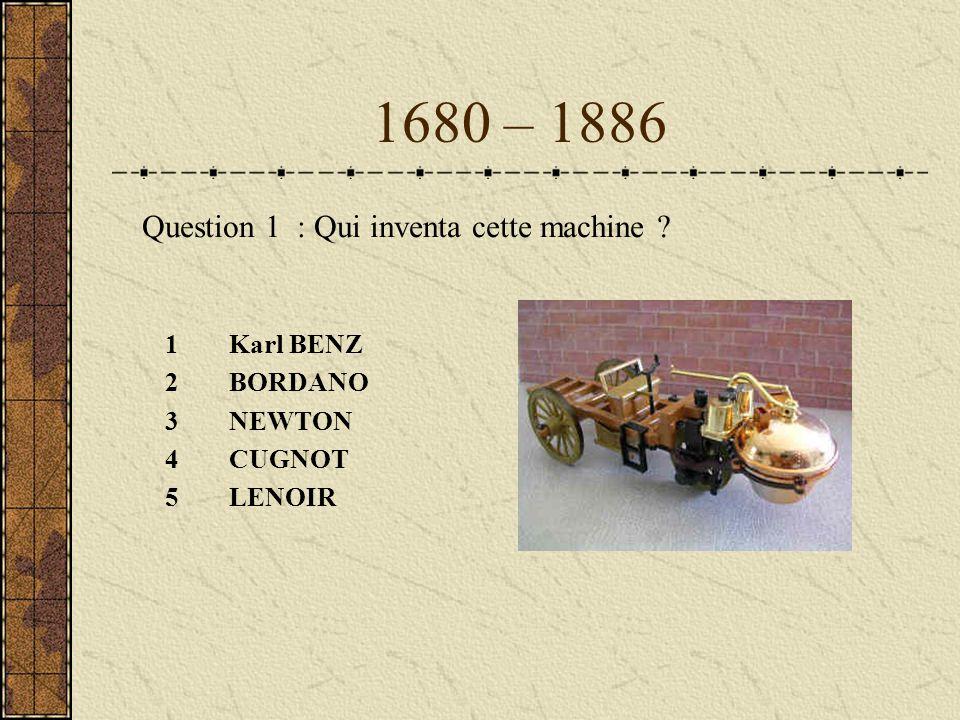 1680 – 1886 1Karl BENZ 2BORDANO 3NEWTON 4CUGNOT 5LENOIR Question 1 : Qui inventa cette machine ?