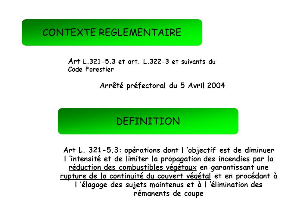 CONTEXTE REGLEMENTAIRE DEFINITION Art L.321-5.3 et art. L.322-3 et suivants du Code Forestier Art L. 321-5.3: opérations dont l objectif est de diminu
