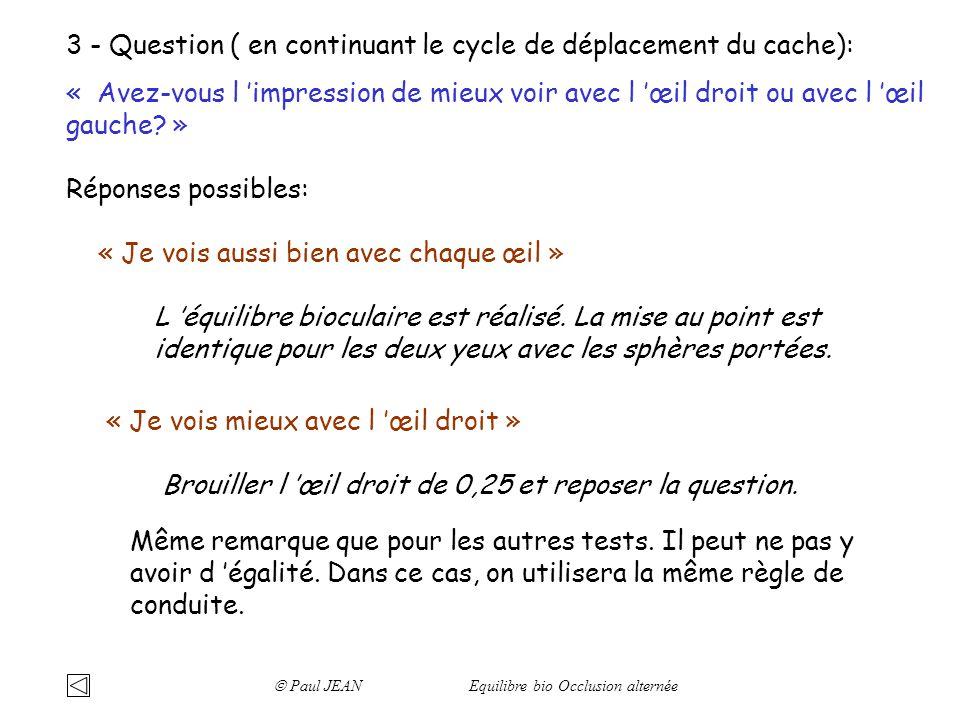 3 - Question ( en continuant le cycle de déplacement du cache): « Avez-vous l impression de mieux voir avec l œil droit ou avec l œil gauche? » Répons