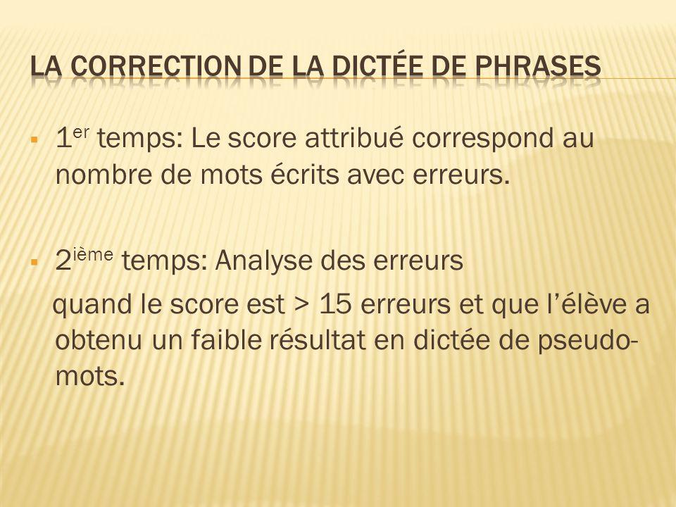 1 er temps: Le score attribué correspond au nombre de mots écrits avec erreurs. 2 ième temps: Analyse des erreurs quand le score est > 15 erreurs et q