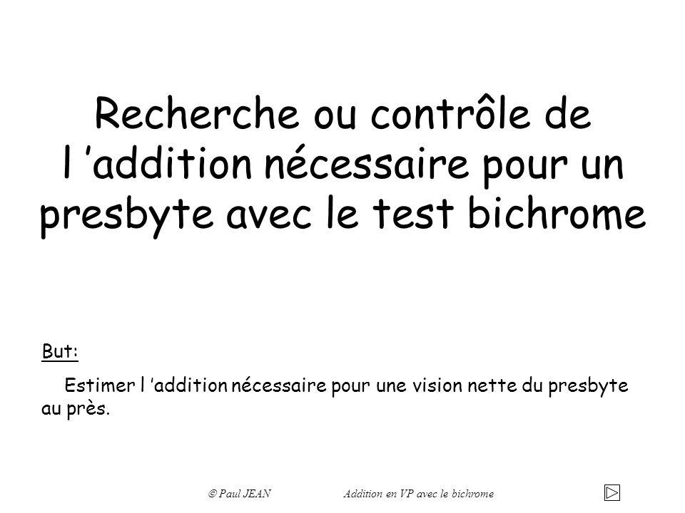 Recherche ou contrôle de l addition nécessaire pour un presbyte avec le test bichrome But: Estimer l addition nécessaire pour une vision nette du presbyte au près.