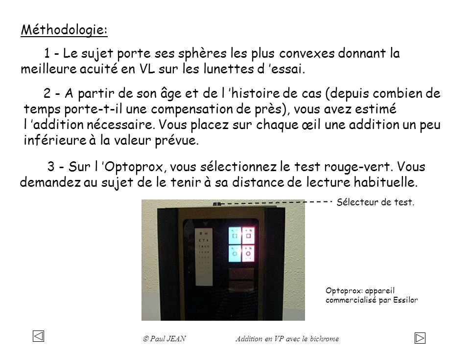 Méthodologie: 1 - Le sujet porte ses sphères les plus convexes donnant la meilleure acuité en VL sur les lunettes d essai.