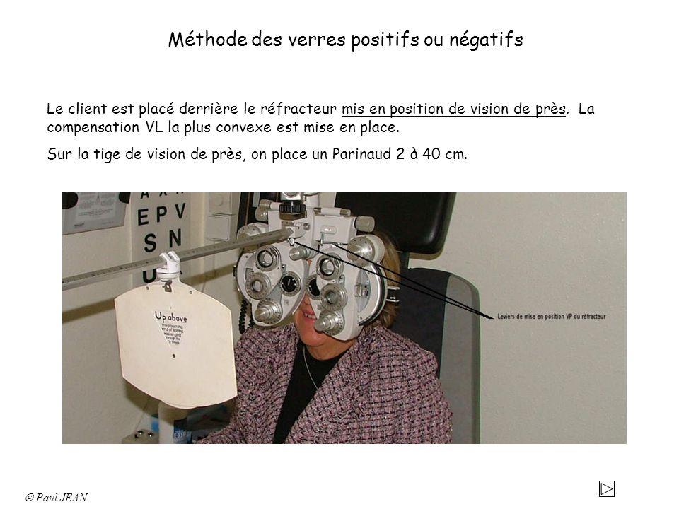 Méthode des verres positifs ou négatifs Le client est placé derrière le réfracteur mis en position de vision de près. La compensation VL la plus conve