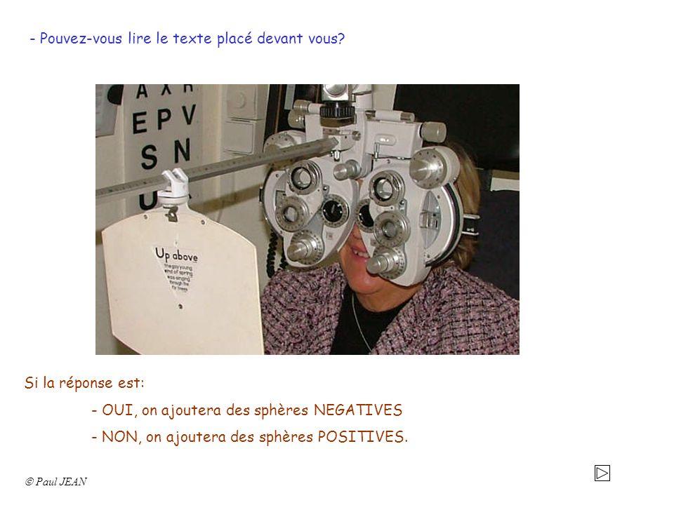 - Pouvez-vous lire le texte placé devant vous? Si la réponse est: - OUI, on ajoutera des sphères NEGATIVES - NON, on ajoutera des sphères POSITIVES.