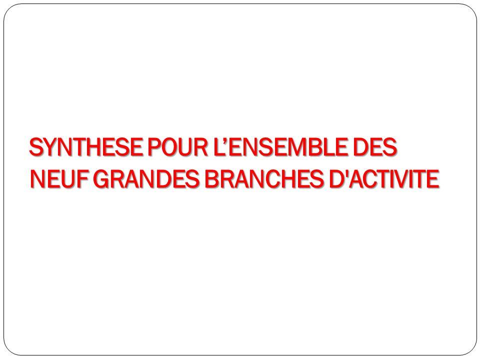 SYNTHESE POUR LENSEMBLE DES NEUF GRANDES BRANCHES D'ACTIVITE