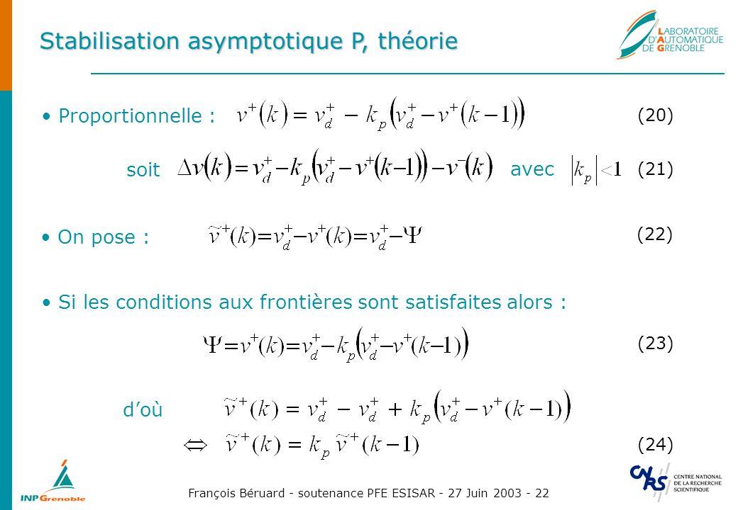 François Béruard - soutenance PFE ESISAR - 27 Juin 2003 - 22 Stabilisation asymptotique P, théorie Proportionnelle : (20) On pose : (22) Si les condit